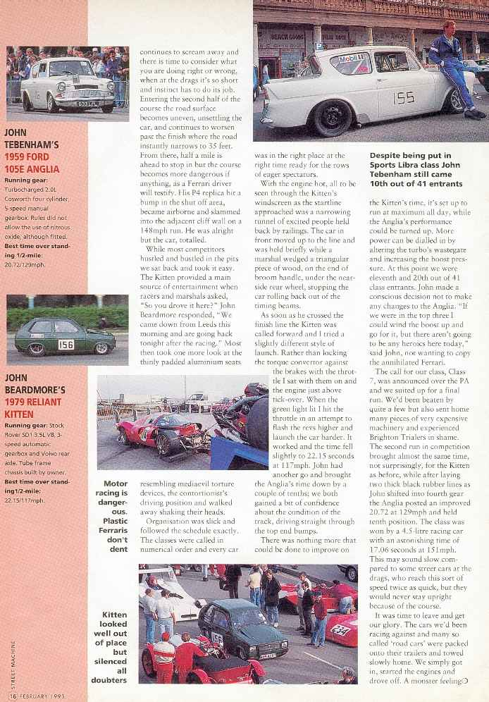 Reliant Kitten Brighton Speed Trials Magazine Article (page 3)