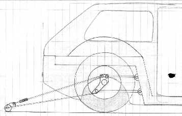 Drawing of rear suspension