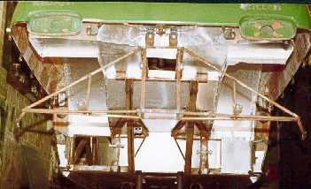 View of completed panels underneath the car