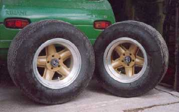 Rear wheels and tyres